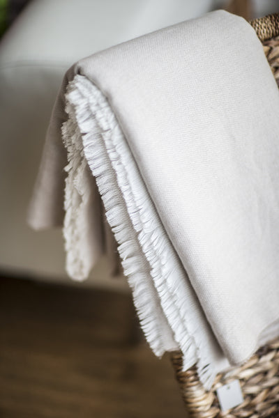 Natural and White Fine Knit Throw