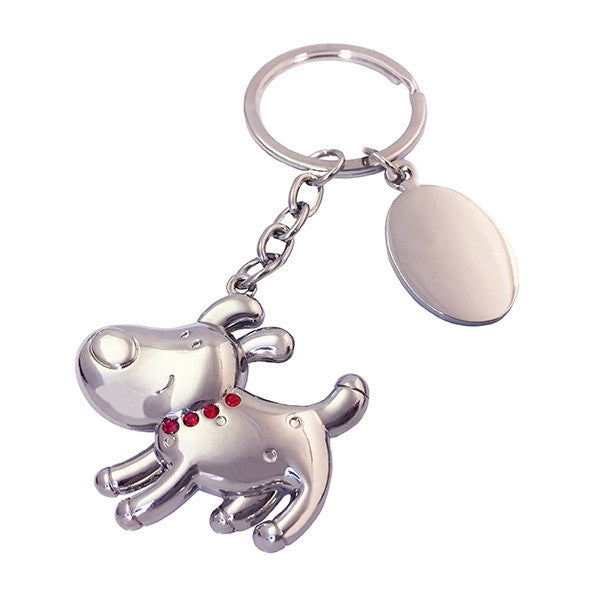 Silver dog keyring with red crystal collar and engravable disk