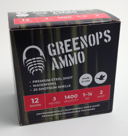 "GreenOps Ammo waterfowl load, 12 gauge, 3"" inch, #2 steel shot, 1 1/4 oz"