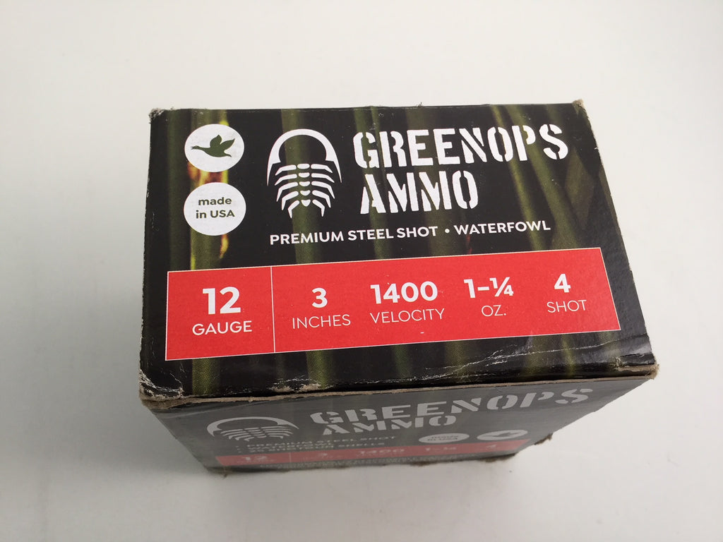"(#4s) GreenOps Ammo waterfowl load, 12 gauge, 3"" inch, #4 steel shot, 1 1/4 oz, Case of 10 boxes, $19.99 per box"