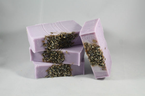 Oh The Wonderful Blend Of Lavender and Peppermint, Which Everybody Loves!  Ingredients:  Organic Coconut Oil, Olive Oil, Rice Bran Oil, Organic Shea Butter, Castor Oil, Aloe Juice, Purified Water, Sodium Hydroxide (Lye), Essential Oils, Sodium Lactate, Mica and Lavender Buds.  Our Soaps are handcrafted in small batches, using the traditional Cold Process Method. They are made with the best ingredients, careful consideration and a lot of enjoyment. Not only will they clean your skin, they will leave your ski
