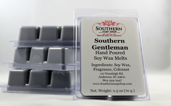 It's warm and Sophisticated, just like a true Southern Gentleman with it's fresh bergamot, musky oak and fine yellow amber. 100 % soy wax melts for your plug - in wax warmer