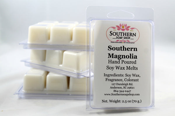 These hand poured soy wax melts are as classic and sophisticated as any real southern lady, its a balanced floral scent of our southern magnolia trees. Made in Anderson South Carolina