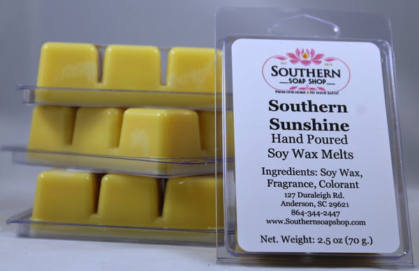 Hand poured soy wax melts made in Anderson South Carolina this is a flirtatious combination of sweet mandarin oranges, sophisticated bergamot and juicy peaches
