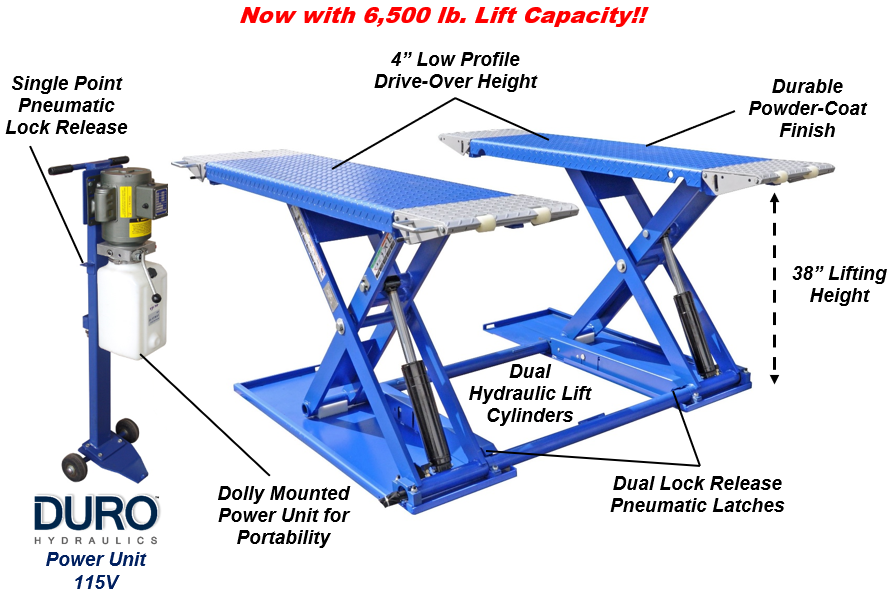 MR6,5K-38 6,500lb Mid-Rise Portable Scissor Lift