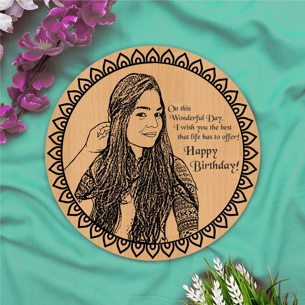 Happy Birthday Round Personalised Wooden Poster - fabwoods