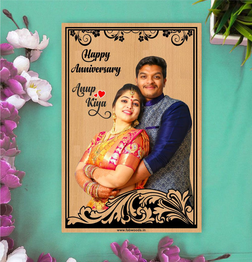 Happy Anniversary Personalised Colored Wooden Poster