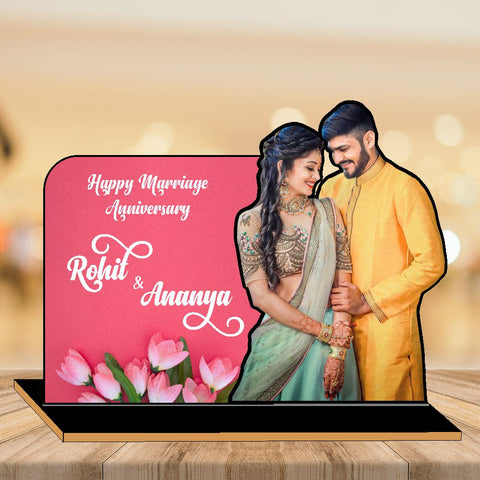 Happy Anniversary Wooden CutOut Photo Frame