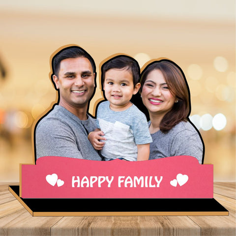 Happy Family  Wooden CutOut Photo Frame