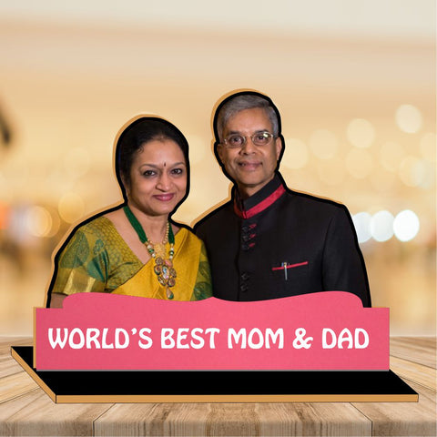 World's Best Mom and Dad Wooden CutOut Photo Frame