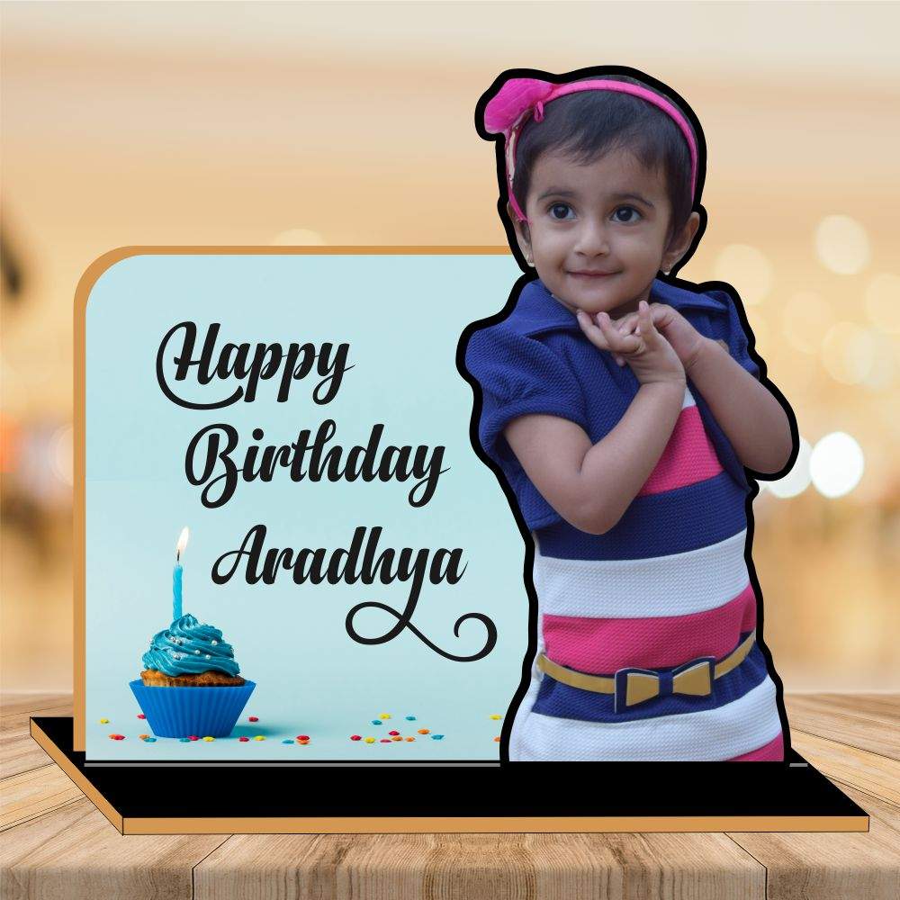 Happy Birthday Wooden CutOut Photo Frame