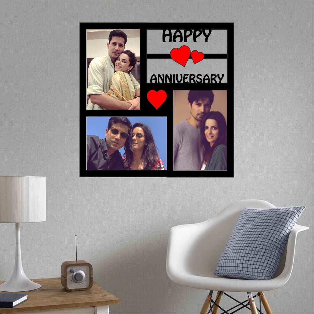 Happy Anniversary Personalized Photo Frame Collage - 3 pic - fabwoods
