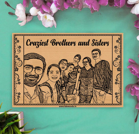 Crazy Sister and Brother Personalized Wooden Poster