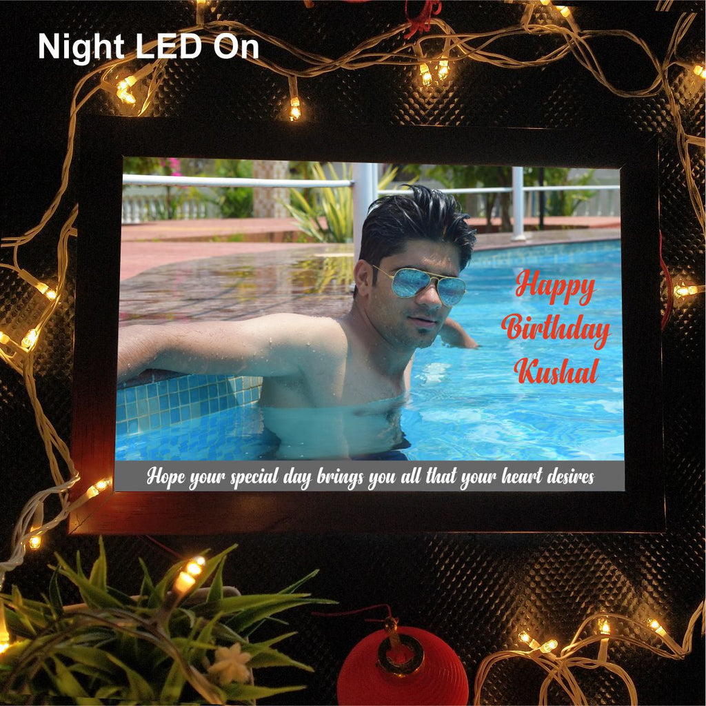 Happy Birthday Personlaised LED photo Frame - fabwoods