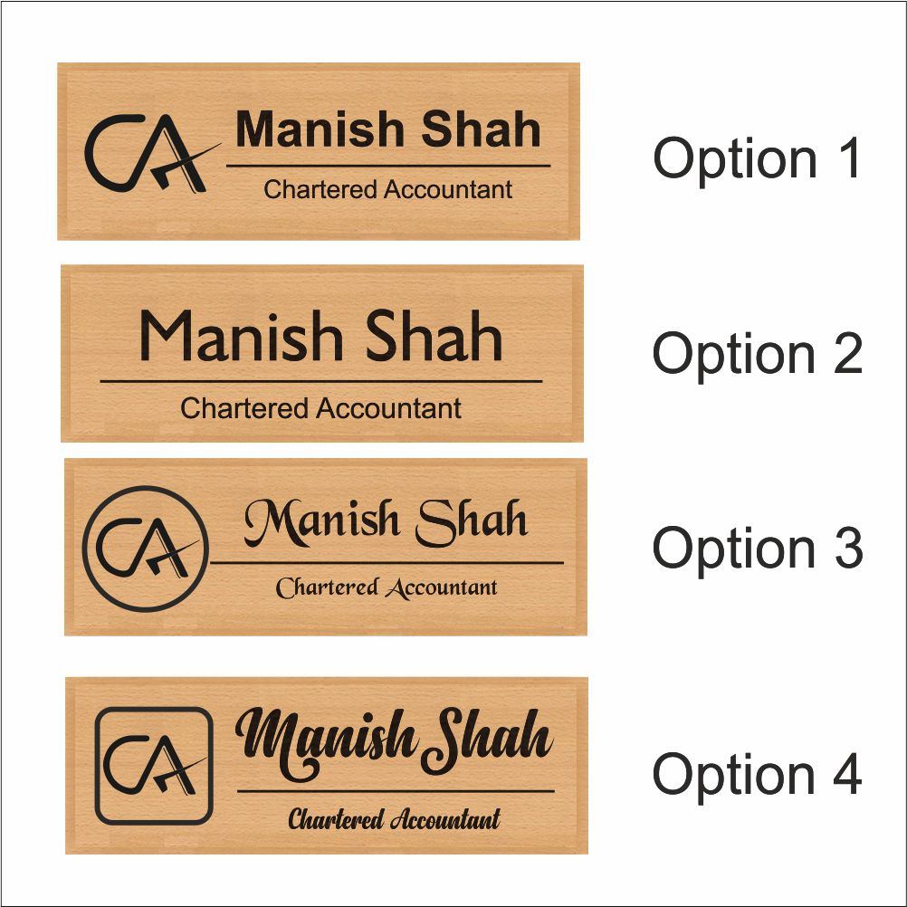 Personalized Wooden Nameplate For Chartered Accountants - fabwoods