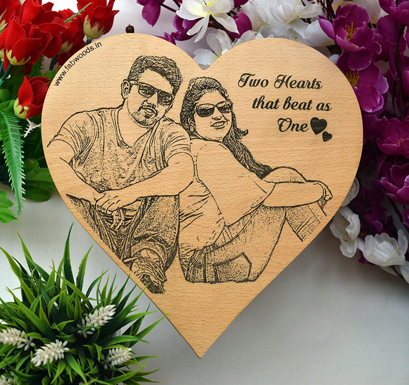 Two Hearts that beat as one Personalised Wooden Poster - fabwoods