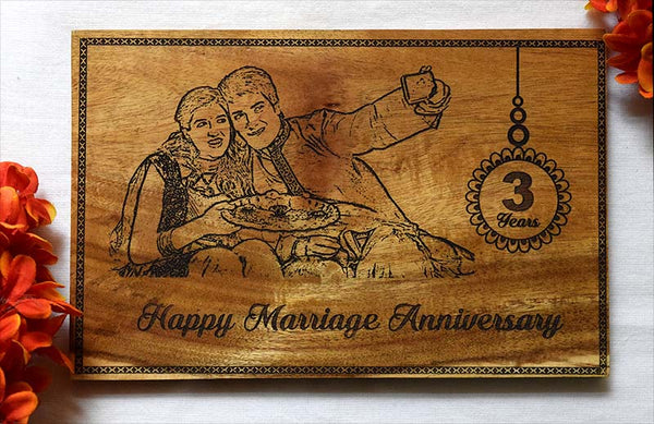 Happy Anniversary Personalised Wooden Poster - fabwoods