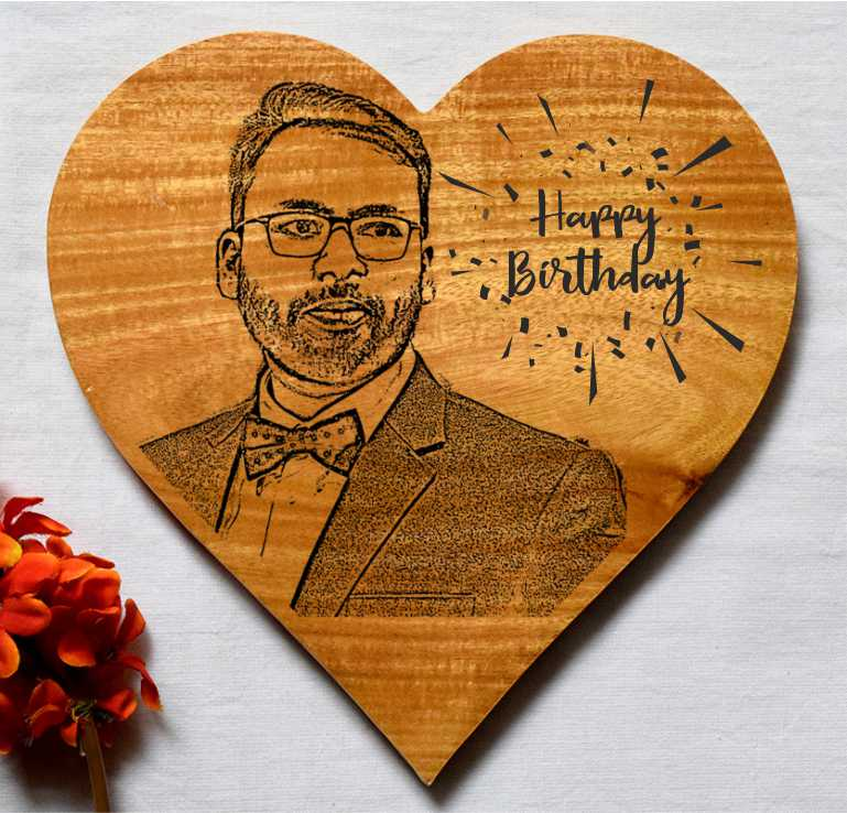 Happy Birthday Love Personalised Wooden Frame - fabwoods