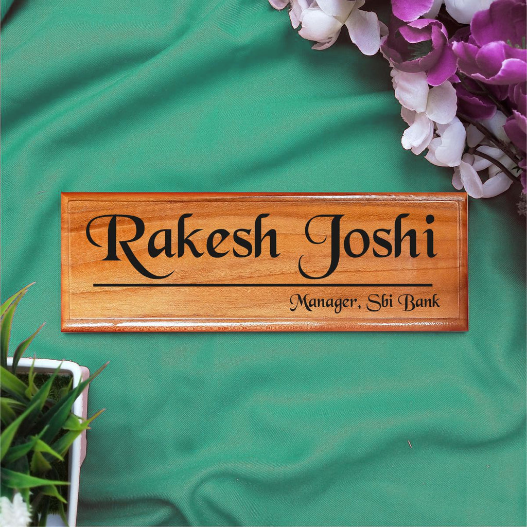 Personalized Wooden Nameplate For Managers - fabwoods