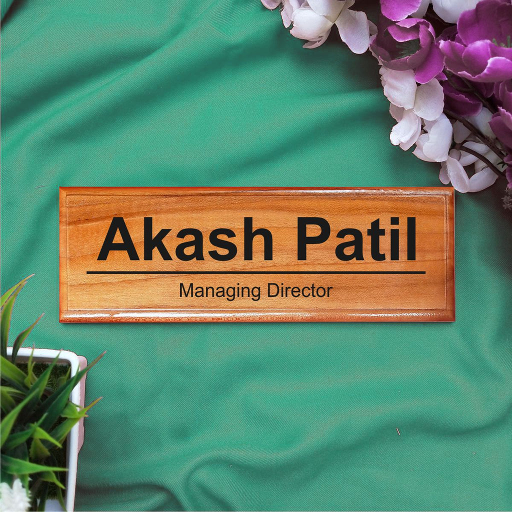 Personalized Wooden Nameplate For Office With Designation - fabwoods