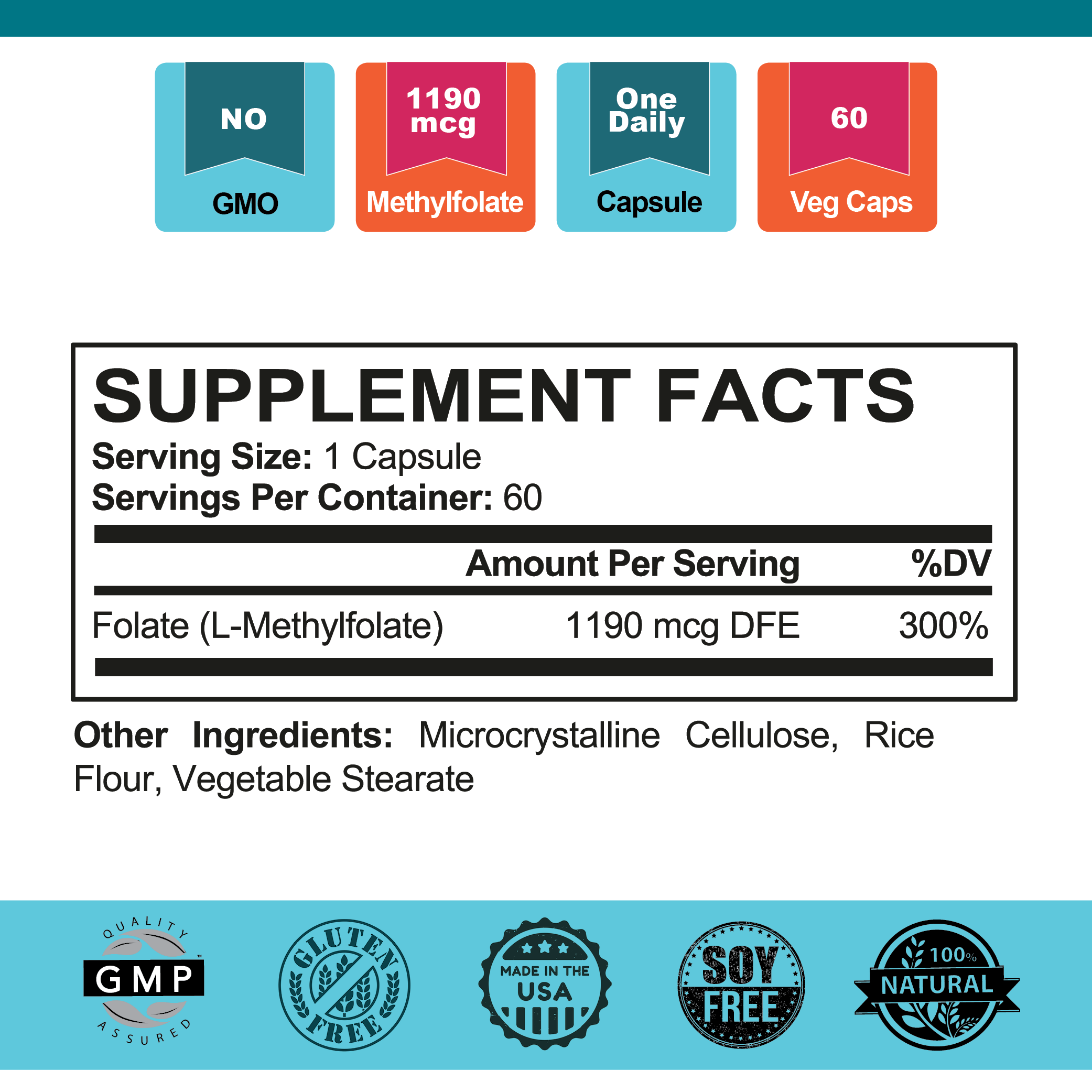 Slap Me Five™ Methylfolate Supplement Facts