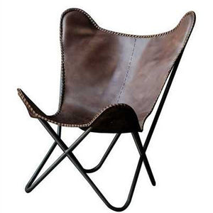 Metal & Leather Butterfly Chair