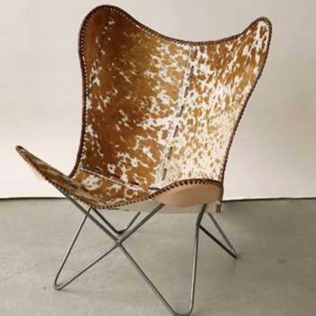 Metal & Cowhide Butterfly Chair - Revibe Designs