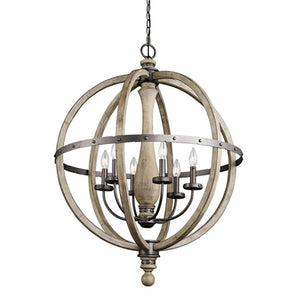 Distressed Wood Sphere Chandelier - Revibe Designs