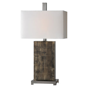 Rustic Wood Table Lamp/ Dark - Revibe Designs