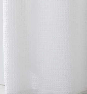 Waffle Stripe White Shower Curtain