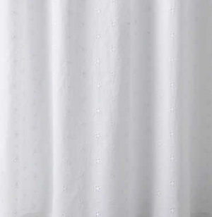 Flower Eyelet White Shower Curtain