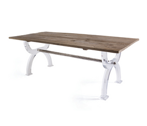Hip Vintage Reclaimed Wood and Lucite Dining Table - Revibe Designs