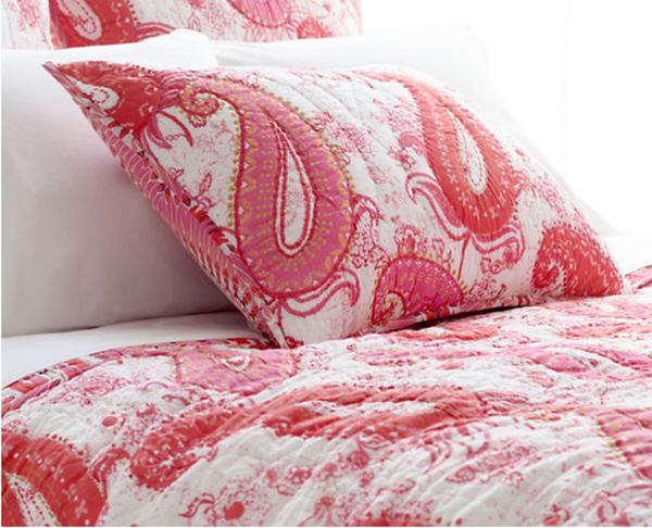 Vista Pink Paisley Quilted Sham