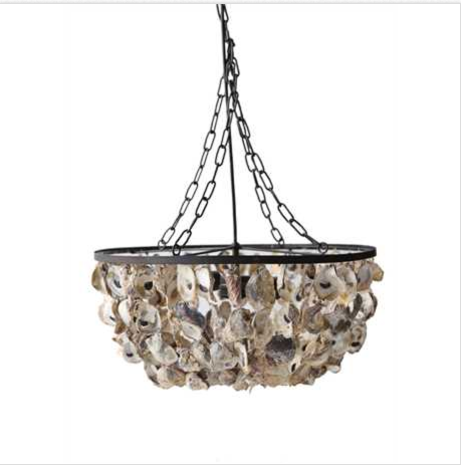 chandelier mended shell oyster project light r lamp layered metals fixture llc