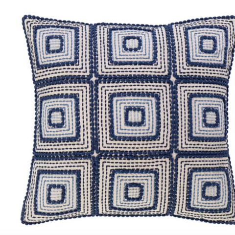 Indigrid Embroidered Pillow