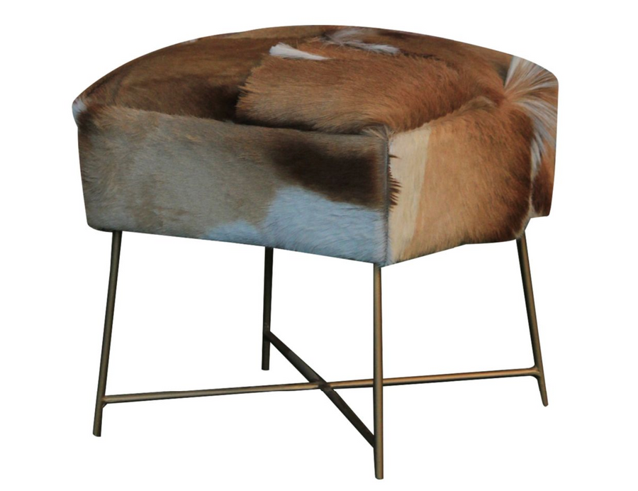 Nutmeg Cow Hide Stool - Revibe Designs