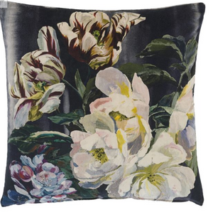 Delft Flower Noir Pillow - Revibe Designs