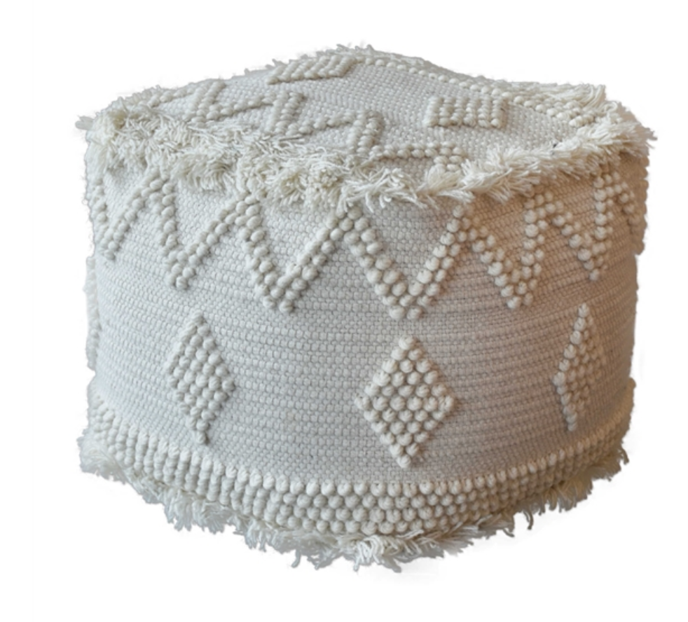 Uriah Ivory Pouf - Revibe Designs