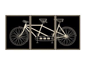 Vintage Tandem Bicycle Triptych Art - Revibe Designs