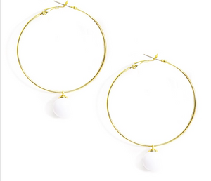 Pearl Drop Hoop Earrings - Revibe Designs