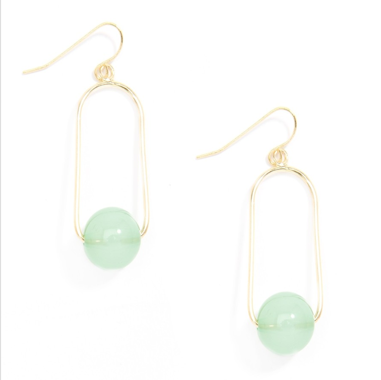 Oval Loop Lucite Ball Drop Earrings