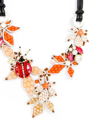 Handmade Flower and Ladybug Necklace - Revibe Designs