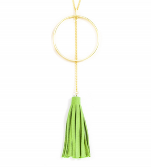 Circle and Tassel Pendant Necklace - Revibe Designs