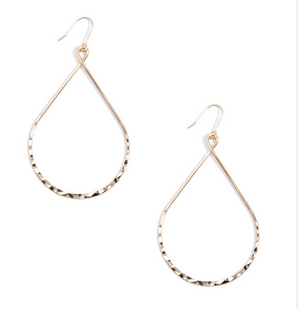 Hammered Metal Teardrops Earrings - Revibe Designs