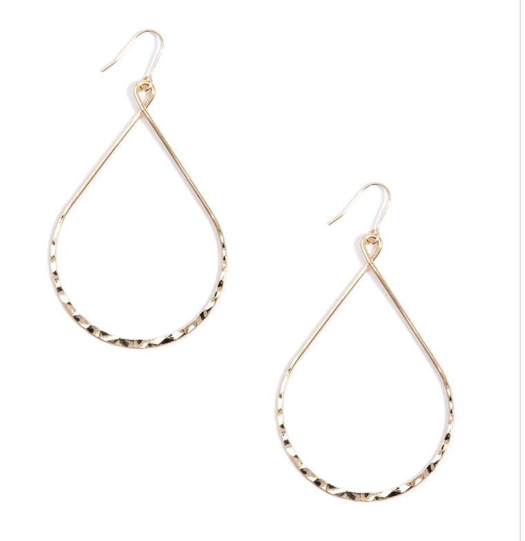Hammered Metal Teardrops Earrings