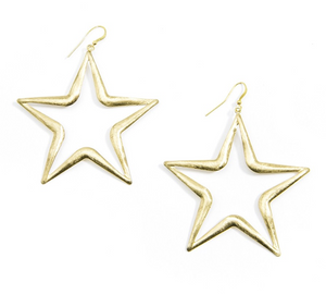 Brushed Metal Star Earrings - Revibe Designs