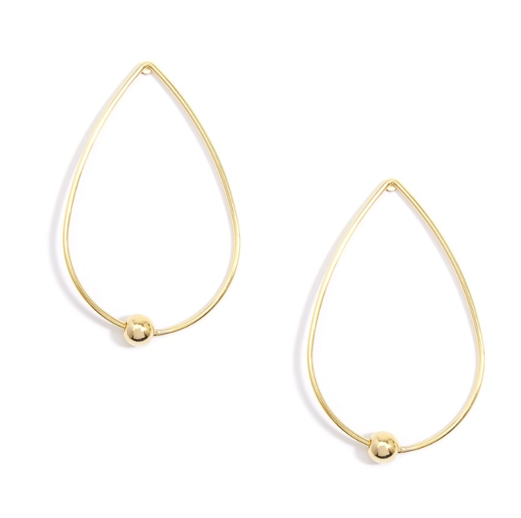 Teardrop hoops with floating bead earrings