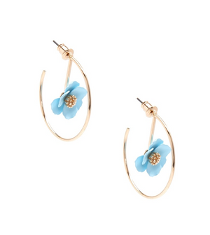 Painted Metal Flower Hoop Earrings