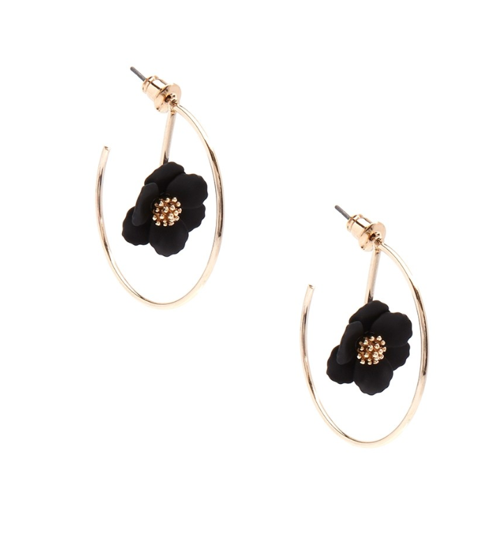 Painted Metal Flower Hoop Earrings - Revibe Designs