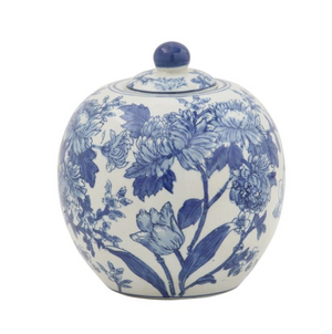 Stoneware Blue and White Floral Decorative Jar Decor - Revibe Designs